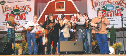 At the end of Friday night's performance, several musicians took to the stage for a jam session during the 2011 Kentucky Bluegrass Music Kickoff at Marion County High School.