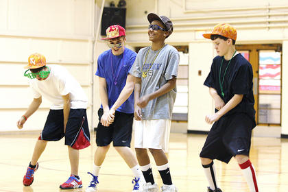 (From left) Eighth graders Zach Grider, Chase Lancaster, Anthony Tongue and Anthony Bradshaw show off their dancing skills.