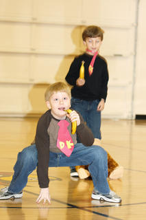 """Third graders Zachary Mullins and Mitchell Mattingly perform a song and dance routine to """"Donkey Kong."""""""