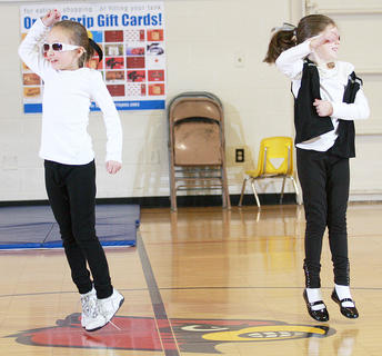 Second-graders Leah Wright, left, and Ava Drury performed a duo dance routine.