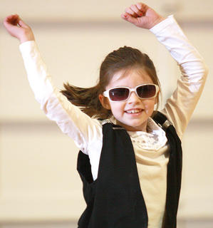 Second-grader Ava Drury shows off her moves.