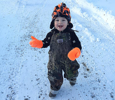 Eli Yates had no complaints about the snow storm that slammed Marion County on Friday, Jan. 22. He is the son of Terry and Amanda Yates of Gravel Switch.