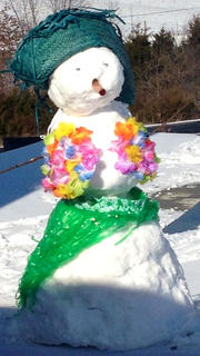 Kim, Trevor and Briley Mudd created this snowman with a tropical theme.