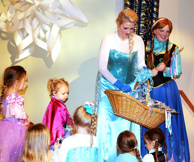 Queen Elsa and Princess Anna hand out special magic wands to guests at the Frozen Tea Party at Centre Square on Saturday, Feb. 17.