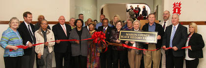 Hundreds of people attended the ribbon cutting to mark the grand opening of the black history exhibit at the Marion Count Heritage Center on Feb. 23.
