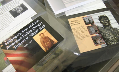 The exhibit includes information about the contributions of numerous African-Americans from Marion County.