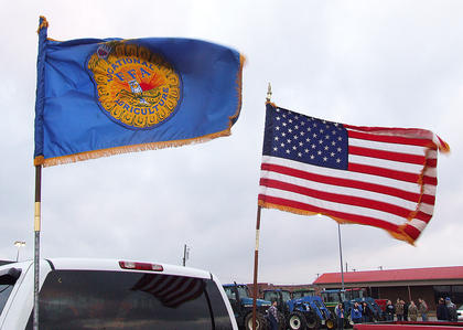 A pickup truck flying the FFA and United States flags was ready to lead the procession to school.