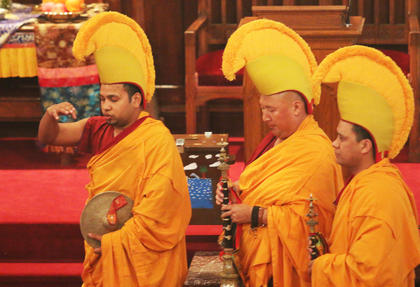 The monks opened the week of artistry by conducting an opening ceremony where they blessed the church and the workspace.