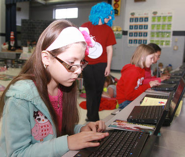Magali Magana works on an AR test during the Read-a-thon on March 1 at Lebanon Elementary School.