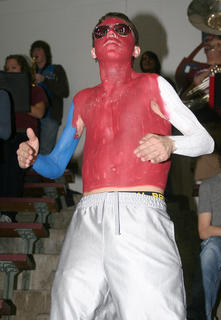 Another MCHS student shows his support for the Lady Knights with body paint.