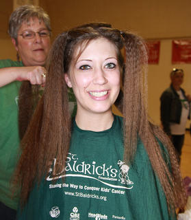 Amy Tongate may have had the longest hair of any of this year's donors.