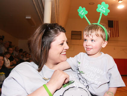 Landon Thompson, 1, was the 2011 St. Baldrick's ambassador child. He was battling bilateral retinoblastoma and was not able to attend last year's event, but he and his mother, Stephanie Thompson, made it to this year's event.