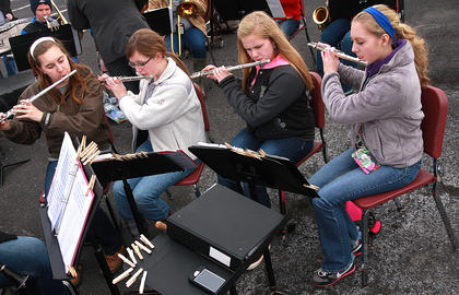 The Marion County High School band entertained the volunteers as they arrived at the plant.