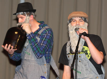 Anthony Mattingly and Ben Woford perform a song from the Soggy Bottom Boys during the talent portion of the competition.