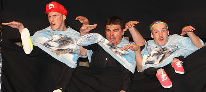 From left, Joey Costello, Kyle Brockman and Chase Lancaster perform a G.O.A.T. Boys routine during the talent portion of the competition.