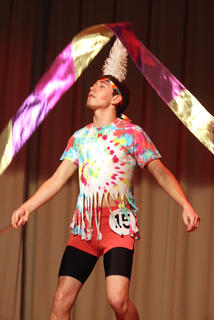 Dylan Thomas performs a dance routine for his talent.