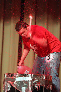 Anthony Chesser performs a creative and messy drum routine during the talent portion of the competition.