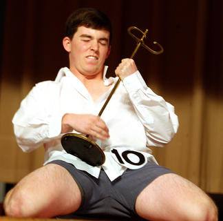 "Robbie Spalding performs a dance routine from the movie, ""Risky Business"" for his talent."