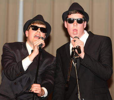 "Daniel Maupin and John May perform a ""Blues Brothers"" skit during the talent competition."