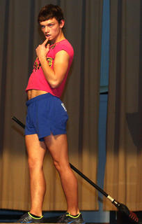 Curt Spalding performs a comedic dance during the talent competition.