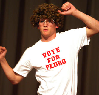 "Anthony Bradshaw performed a comedic dance from the movie ""Napoleon Dynamite"" during the talent competition."