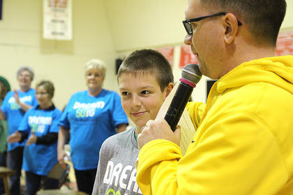 Matthew Miles, who was the ambassador child during Marion County's first St. Baldrick's in 2008, has returned every year to shave his head and to support the event.