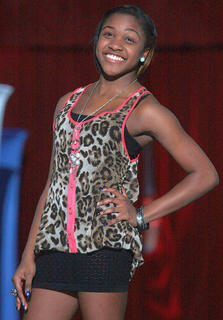 Eighth-grader Shy Camp prowls the runway.