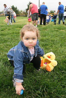 Kaylee McElroy, 2, of Lebanon takes her egg hunting seriously.