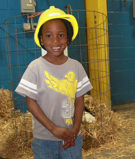 Trivaughn Tonge, 5, of Bardstown sports a new helmet, courtesy of Inter-County Energy.