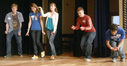 The older students in the camp did a variety of exercises, including one in which they crossed the stage in different personas, including ghosts, punks, sea creatures, and senior citizens. Pictured, from left, are Wesley Campbell, Gwendolyn Campbell, Gaubrielle Humphress, Trevor Fitzpatrick and Alex Mattingly.