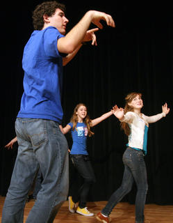 The older students in the camp did a variety of exercises, including one in which they crossed the stage in different personas. In this photo, Alex Mattingly, Gwendolyn Campbell and Gaubrielle Humphress cross the stage as ghosts.