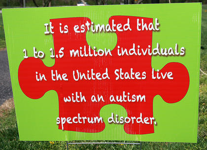 Signs placed through the park included a variety of statistics and information about autism.