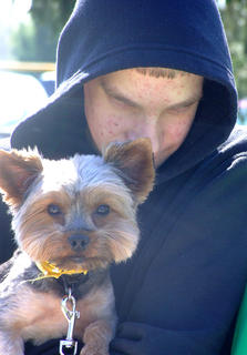 Timothy Leigh, 16, and his dog Biscuit were inseparable at the walk.