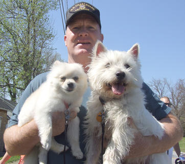 Sherbie King gave Isa, left, and Eddie a lift during the last half of the walk.