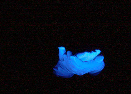The third graders incorporated a black light to draw attention to their hand movements during their routine.