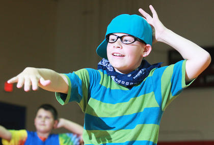 Dakota Pinkston was dressed for fun during fifth grade's dance routine.