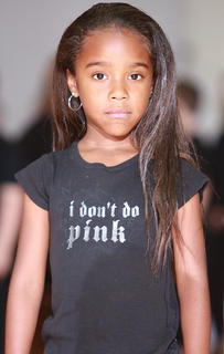 Kindergartner Latasia Flores was serious about her performance (and she doesn't do pink).