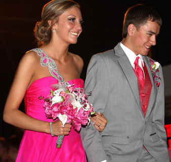 Austin Hunt and Adrienne Hill are pretty in pink.