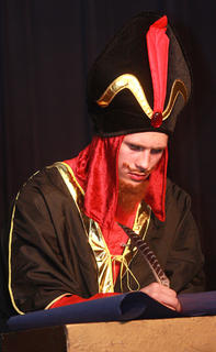 The sultan's advisor, Jafar (Isaac Lanham), makes a few additions to the ancient laws of Agrabah so that Princess Jasmine will have to marry him if she does not choose someone to marry.