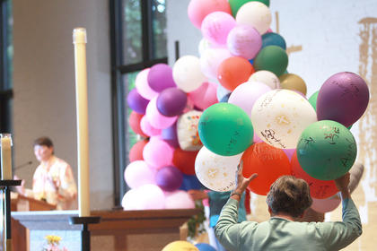 Balloons signed by members of the community were brought to the front of the Church of the Seven Dolors as part of the final Call to Jubilee during the 200th anniversary of the Sisters of Loretto.