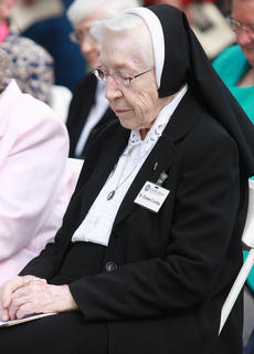 Sr. Emma Cecilia Busam, 90, was among the nuns who returned to Marion County to celebrate 100 years of service by the  Ursuline Sisters of Mt. St. Joseph.