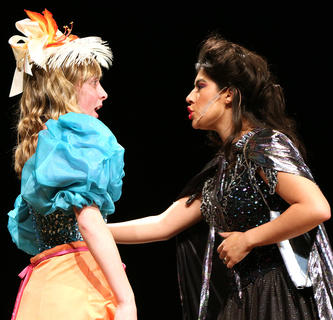 Andy O'Daniel, right, plays Cinderella's evil stepmother while Gracie Wilson plays one of Cinderella's evil stepsisters Joy.