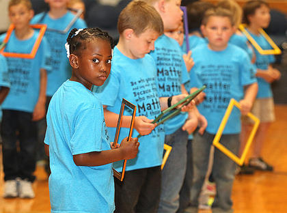 Pictured are first graders Jonaecia Warren, Lyndon Leake and Charles Smith.