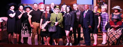 Pictured is the cast of Dearly Departed. Pictured, from left are Wanda Buckler, Gayla Kelly, Lucinda Effner, Stephen Lega, Michelle Riley, Brittany Rye, Kent McAllister, Kathy Blandford, Nannie Hill, Zoey Blair, Daniel Hardin, Jerry Evans, Elizabeth Gentry, Megan Williams, Gail King and John King. Not pictured is Gene Hall.