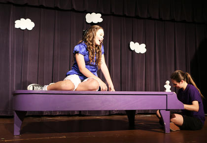 Lucy has a crush on Schroeder! Lauren Bradshaw and Ann Preslee Thompson kept the audience entertained with their antics.