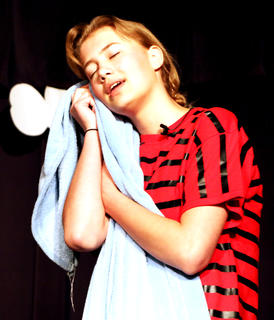 Kelli Jo Bradshaw, portraying Linus, doesn't understand why loving your blankie and sucking your thumb is so strange.