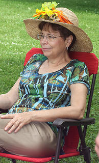 Katina Johnson relaxes on the lawn at Myrtledene Bed and Breakfast.
