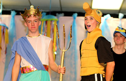 Landon Rakes, left, plays the part of King Triton, and Cade Thompson plays a funny seahorse.