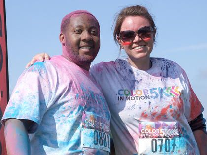 Eric Mobley and Brittany Barger of Louisville keep smiling after completing the course.