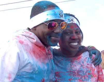 Robert Willis and Marquisha Jackson made the trip from Kentucky State University to participate in the Color in Motion 5K. Willis is the chief of staff of KSU's Student Government Association, and Jackson is the reigning Miss Kentucky State University.